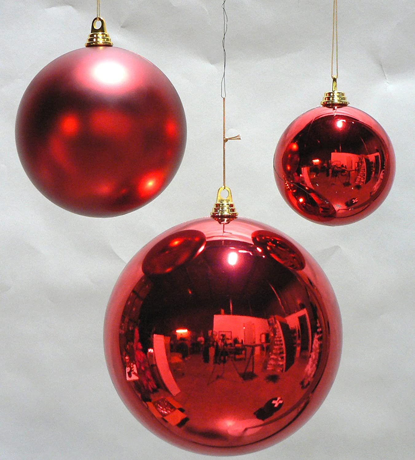 Decorative Christmas Ball Ornaments: 2 Large Shiny Red Christmas Ball Ornaments 12inch TWO