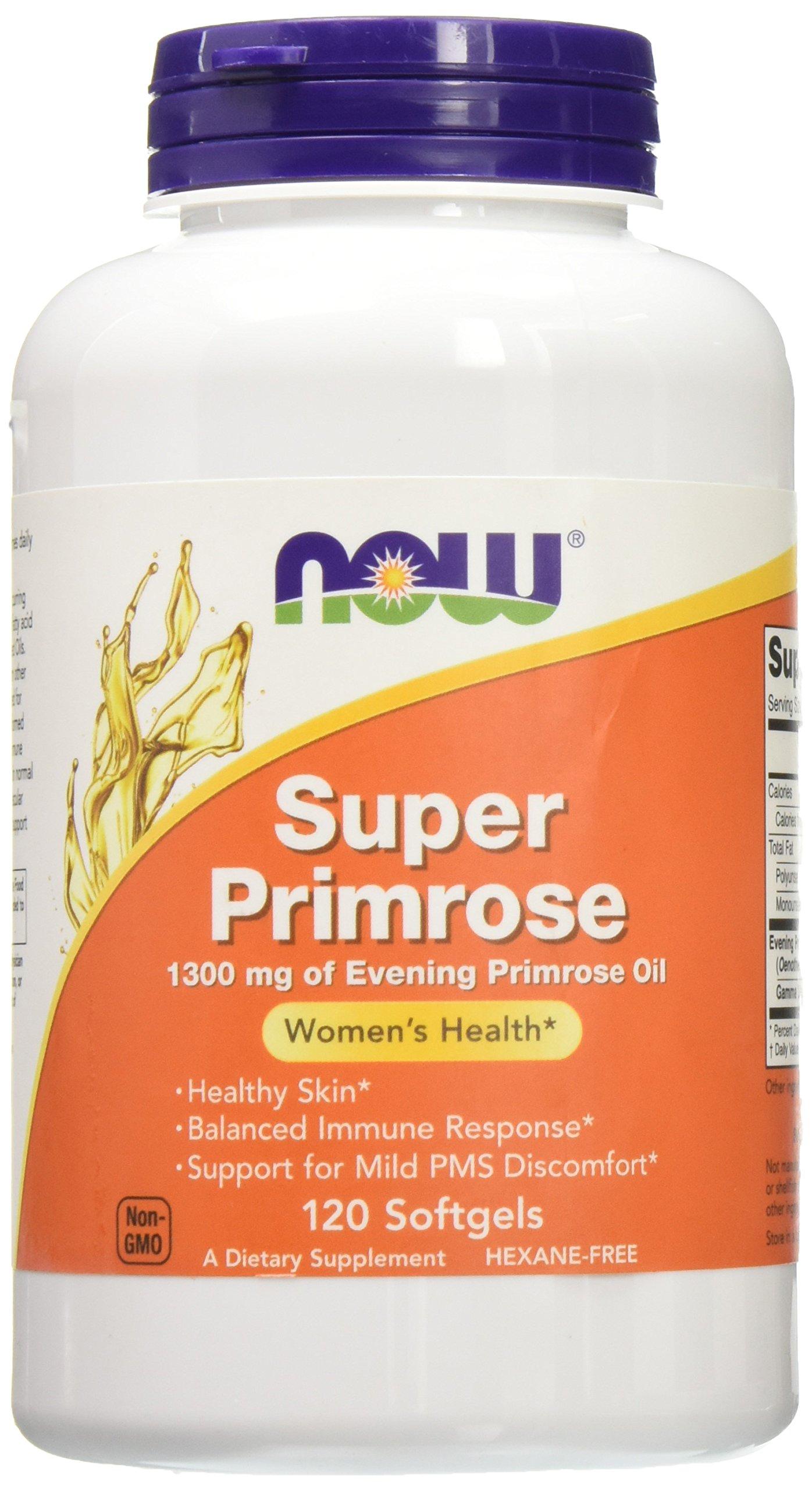 Now Foods Super Primrose 1300mg, 120 gels (Pack of 2)