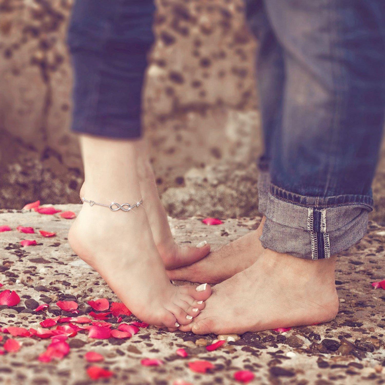 Billie Bijoux Womens 925 Sterling Silver Infinity Endless Love Symbol Charm Adjustable Anklet Bracelet, Large Bracelet, Gift for Mother's Day (A- Silver) by Billie Bijoux (Image #4)