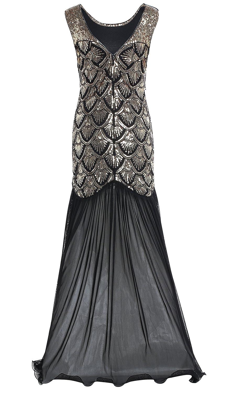 BABEYOND Womens 1920s Long Dress Scale Beaded Sequin Maxi Prom Evening Dress (Gold, Label XL/ UK18/ EU46): Amazon.co.uk: Clothing