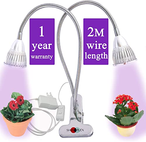 Grow Light for Indoor Plant – Grow Lamp Dual Head Growing Lights Adjustable Gooseneck Full Spectrum LED 10W hydroponic Bulb for House Plants, Seedling, Blooming Fruiting, Office 2018 Upgraded