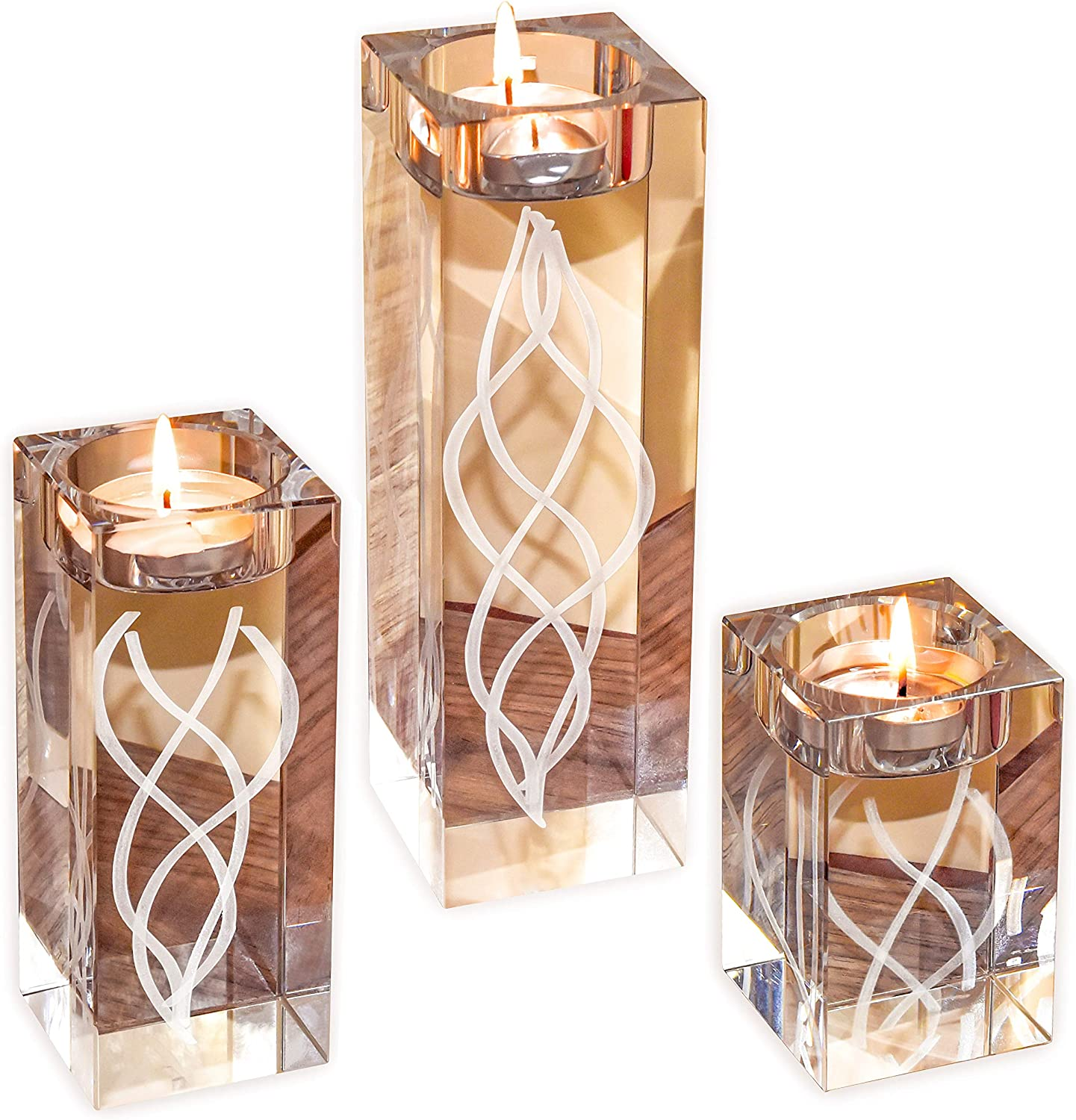 Le Sens Amazing Home Engraved Large Crystal Candle Holder Set of 3¦6.2/4.7/3.1 Inches H¦Solid Clear Glass Decoration¦Luxurious Elegant Pillar & Votive Tealight Table Centerpiece¦Wedding & Home Décor