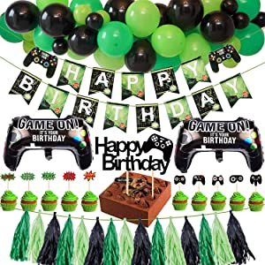 Golray Video Game Birthday Party Supplies Decorations for Gamer Boys with 34 Balloons Decor, Gamer Happy Birthday Banner, Paper Tassel Banner, Cake Cupcake Toppers, Game Foil Balloons, Gaming Party Supplies Favors for Gamer Boys Birthday Decorations