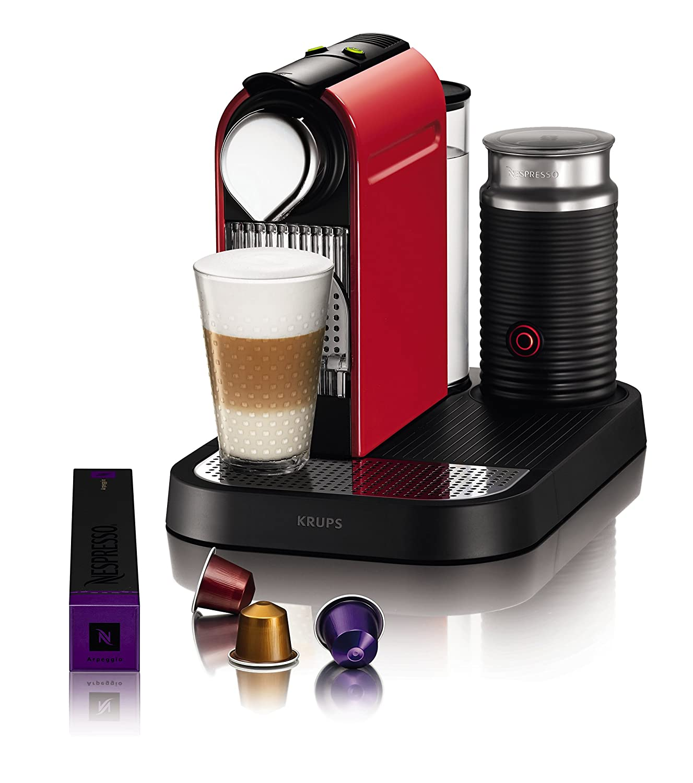 Nespresso Citiz Milk XN 7605PR4, cafetera de cápsulas, 19 bares, Krups, apagado automático, intuitiva, elegante diseño, color fire red