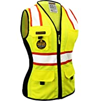 KwikSafety (Charlotte, NC) FIRST LADY Safety Vest for Women | Class 2 ANSI OSHA PPE | High Visibility Heavy Duty Mesh Pockets Zipper | Hi-Vis Construction Work Hi-Vis Surveyor Female | Yellow Medium