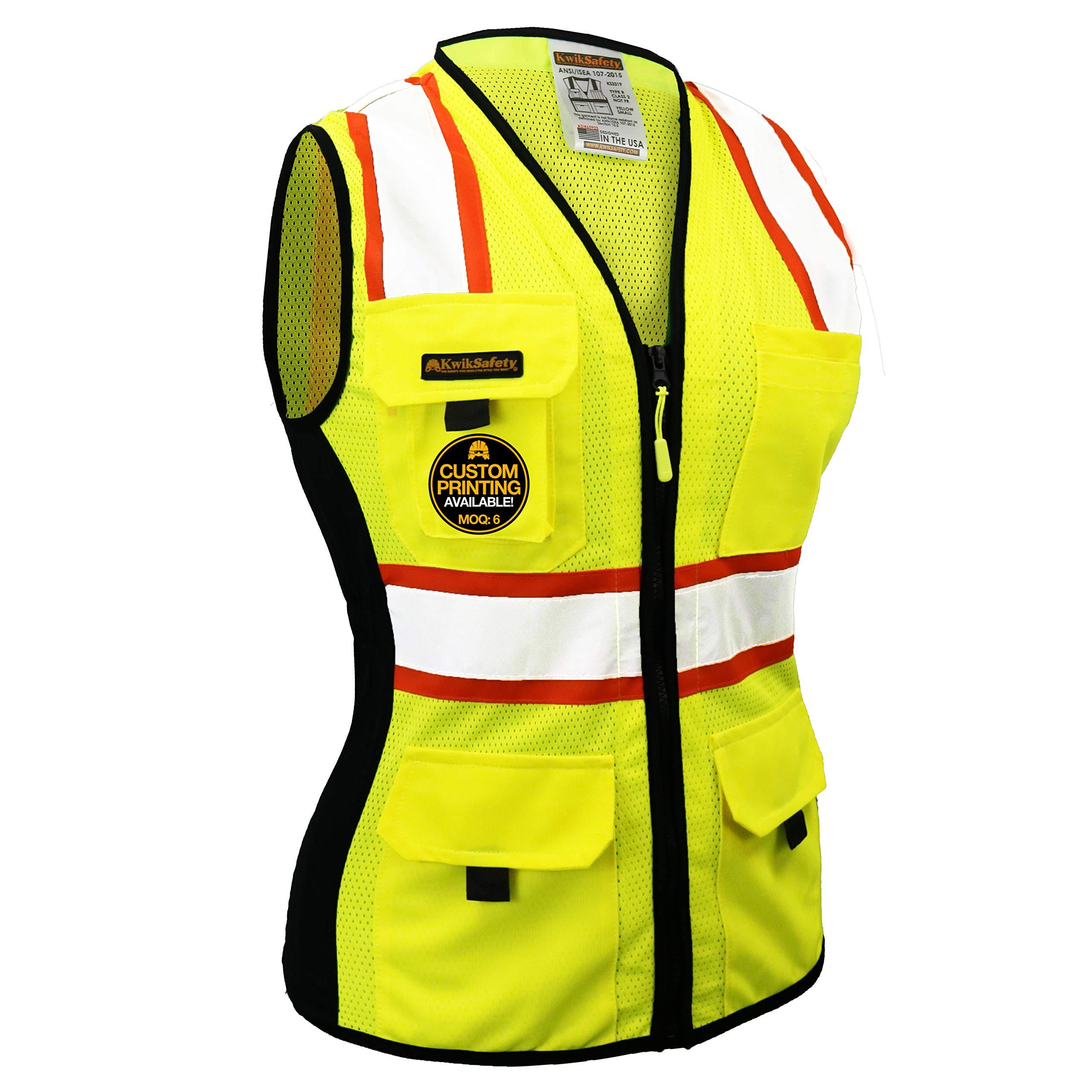 KwikSafety (Charlotte, NC) FIRST LADY Safety Vest for Women | Class 2 ANSI OSHA PPE | High Visibility Heavy Duty Mesh Pockets Zipper | Hi-Vis Construction Work Hi-Vis Surveyor Female | Yellow Small by KwikSafety