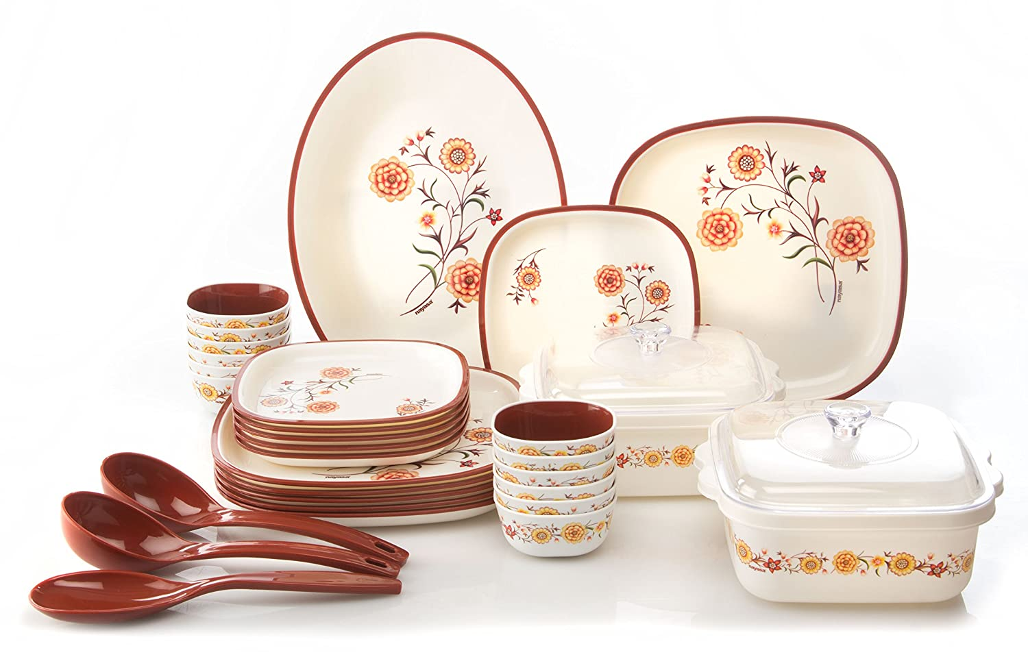Buy Nayasa Square Printed Plastic Dinner Set 30-Pieces Brown Online at Low Prices in India - Amazon.in  sc 1 st  Amazon.in & Buy Nayasa Square Printed Plastic Dinner Set 30-Pieces Brown ...