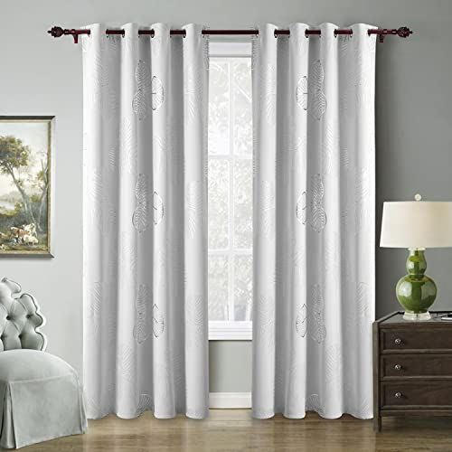 Cheap Deconovo Blackout 2 Panels Grommet Leaf Printed Room Darkening Thermal Insulated Window Curtains window curtain panel for sale