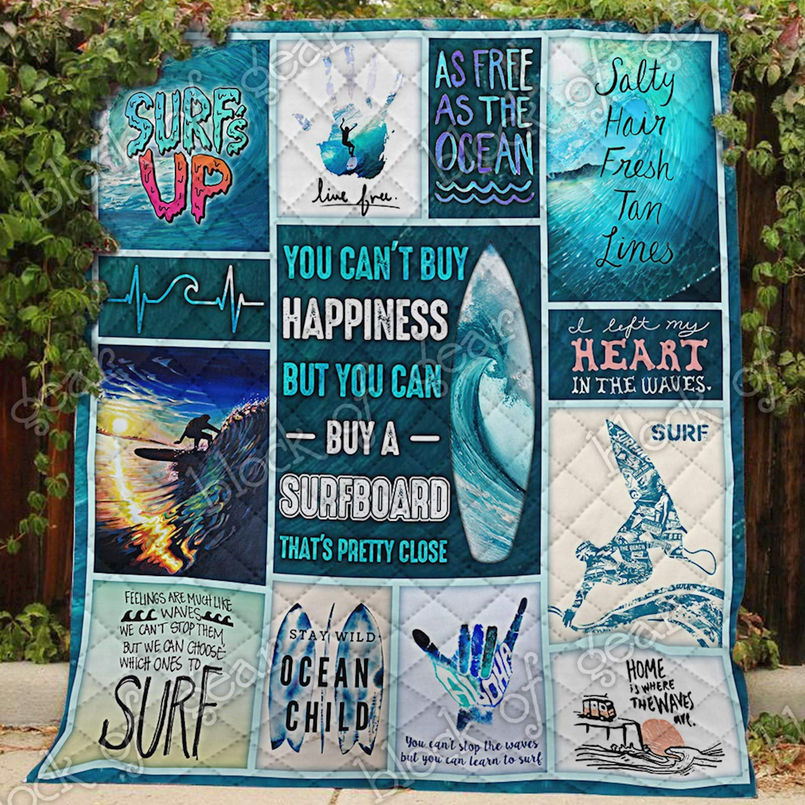 Stay Wild Ocean Child Surfing Quilt PS297, King All-Season Quilts Comforters with Reversible Cotton King/Queen/Twin Size - Best Decorative Quilts-Unique Quilted for Gifts
