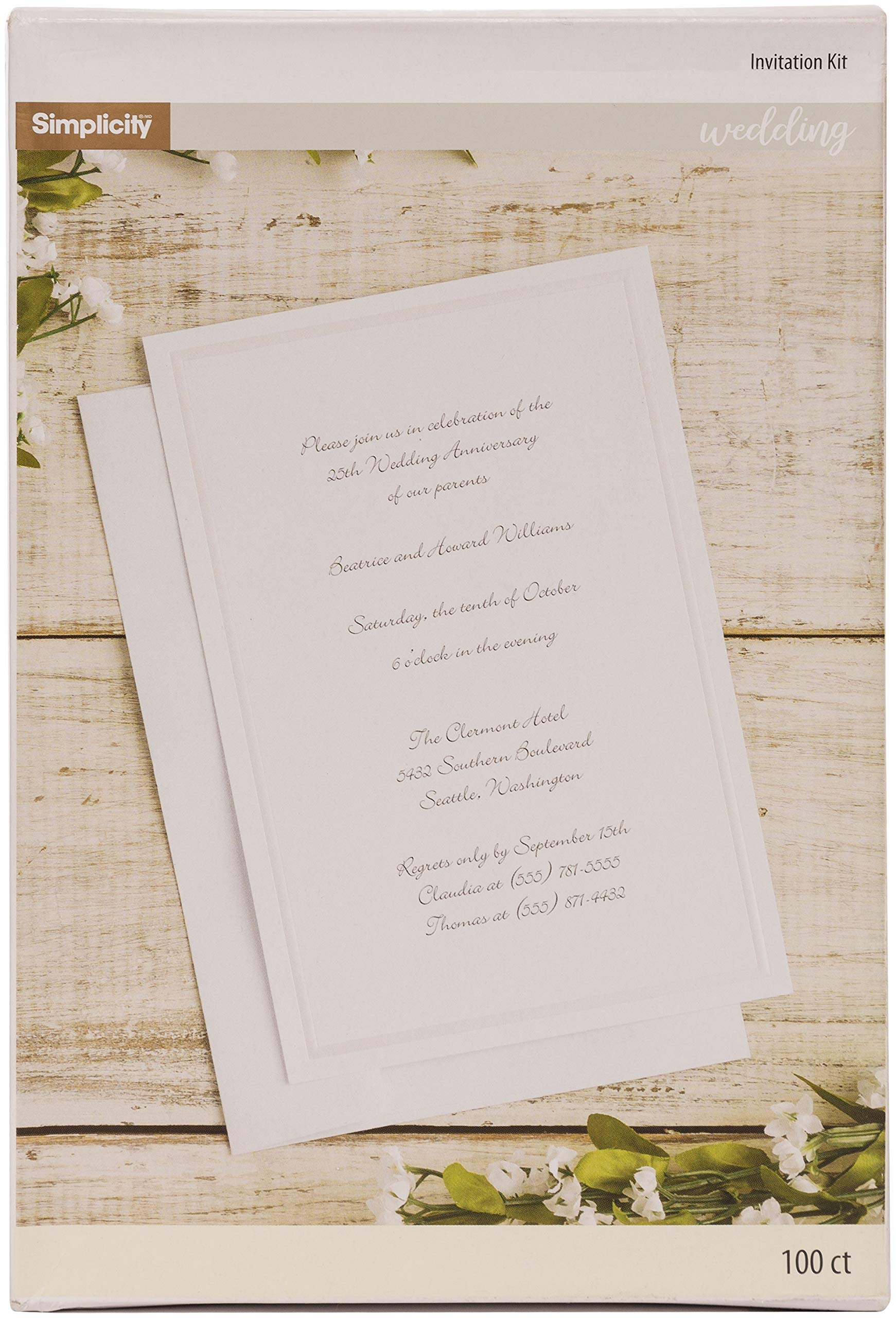 Simplicity White Wedding Invitation Cards with Envelopes, 100pc, 5.5'' W x 8.5''H - White by Simplicity