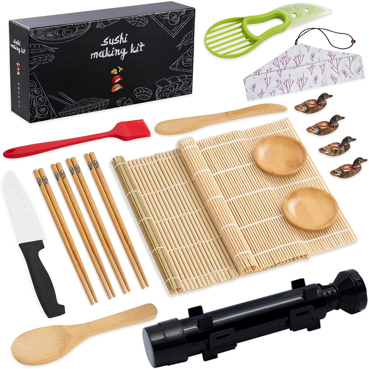 pentaQ Sushi Making Kit, 20 Pieces Sushi Bazooka Maker Set for beginner, DIY Sushi Roller Machine with Natural Bamboo Rolling Mat, Sushi Knife, Bamboo Chopsticks, Sauce Dish, Bazooka-Black