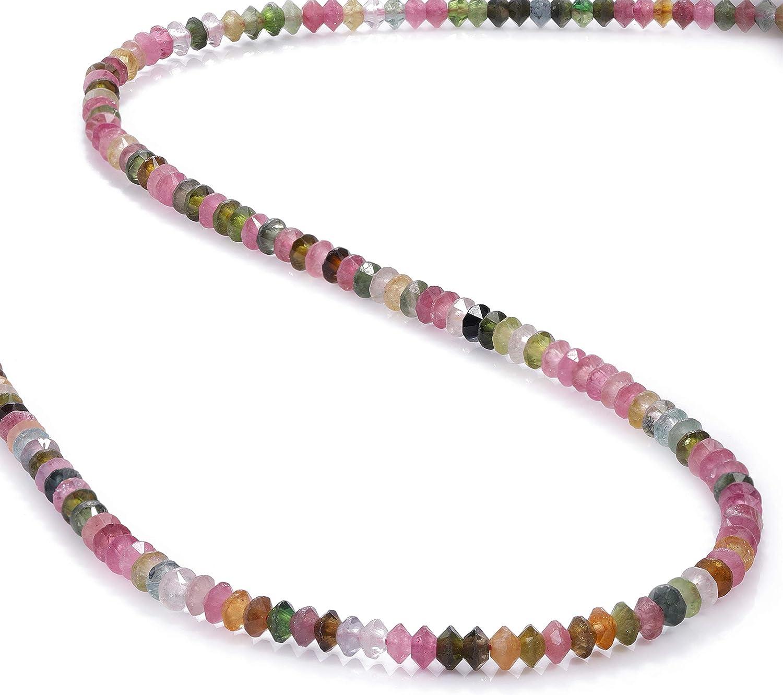 Collar de cuentas multicolor de turmalina y piedras preciosas de 3 mm, collar de cuentas en forma de disco, regalo de cumpleaños para ella