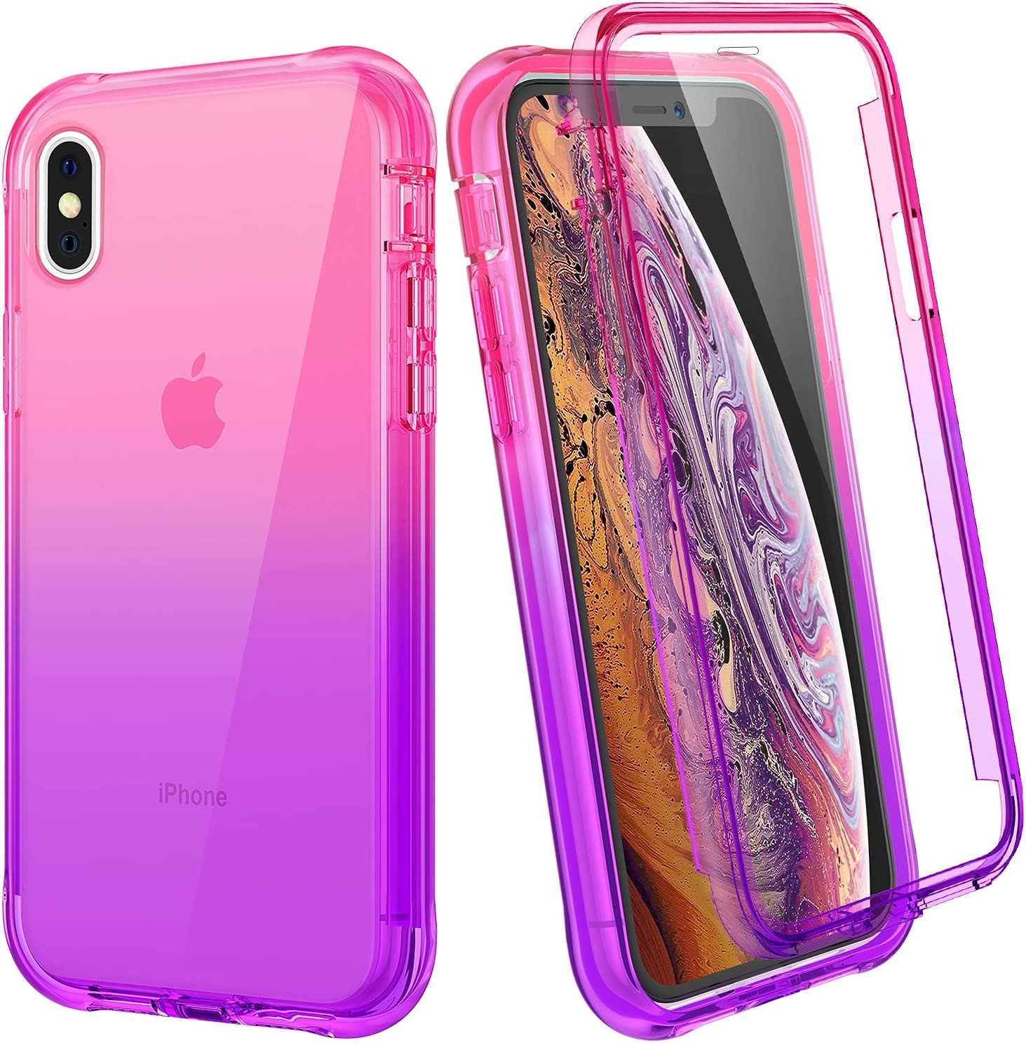 Ruky iPhone Xs Max Case, iPhone Xs Max Full Body Rugged Cover with Built-in Screen Protector Soft TPU Bumper Heavy Duty Shockproof Protective Clear Girls Women Case for iPhone Xs Max, Pink Purple