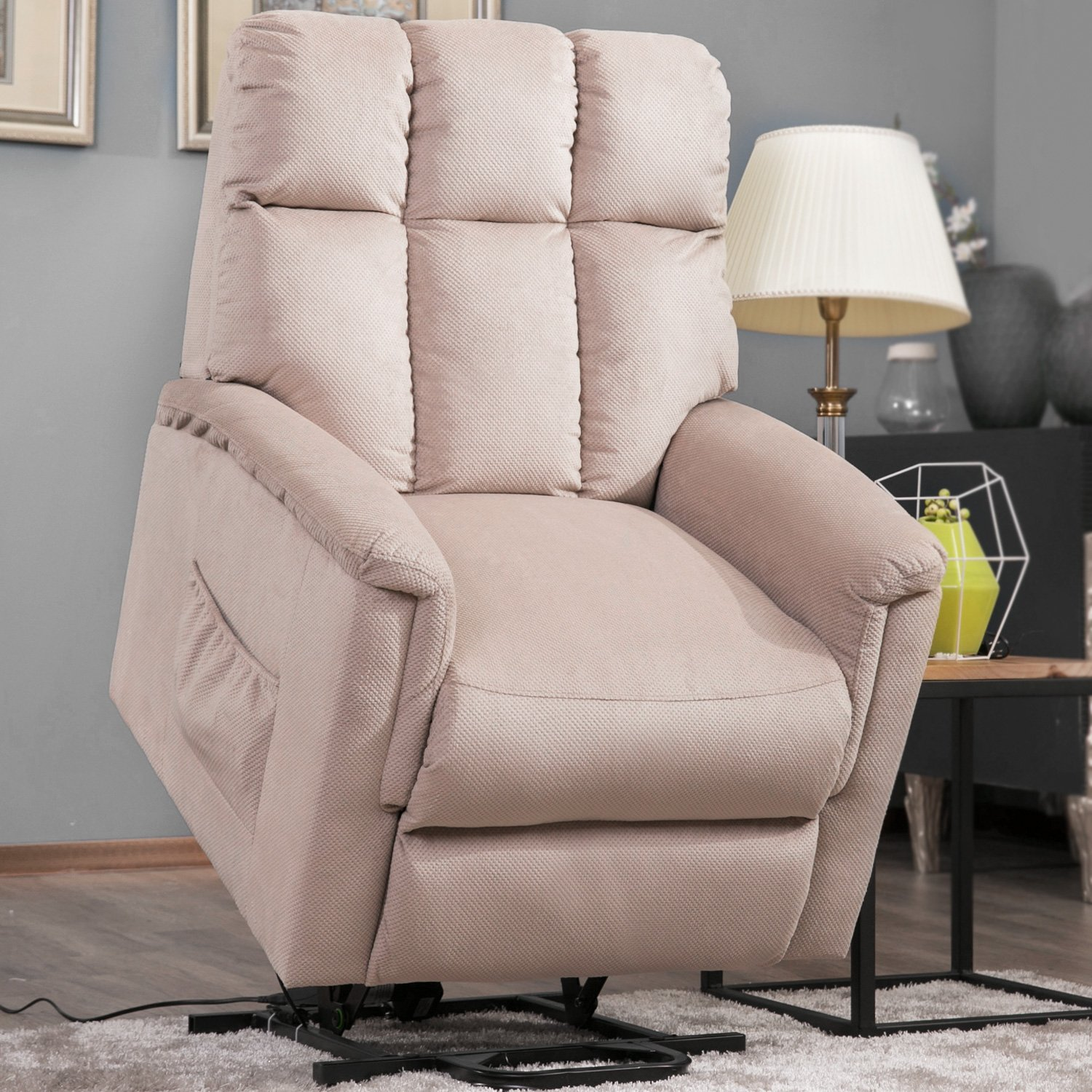 Harper Bright Designs Power Lift Chair Soft Fabric Recliner Lounge Living Room Sofa with Remote Control