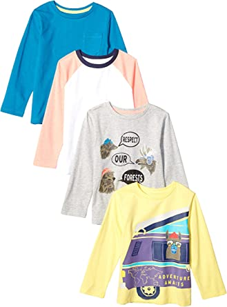 Marca Amazon - Spotted Zebra 4-Pack Long-Sleeve T-Shirts Niños: Amazon.es: Ropa y accesorios