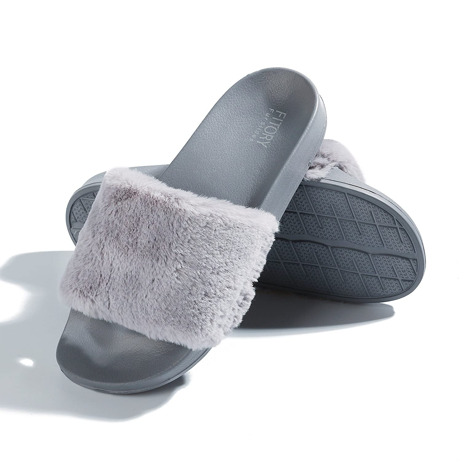 55064d133 Clothing, Shoes & Jewelry FITORY Women Slides Slippers,Faux Fur Slide Slip  On Flats Sandals with ...