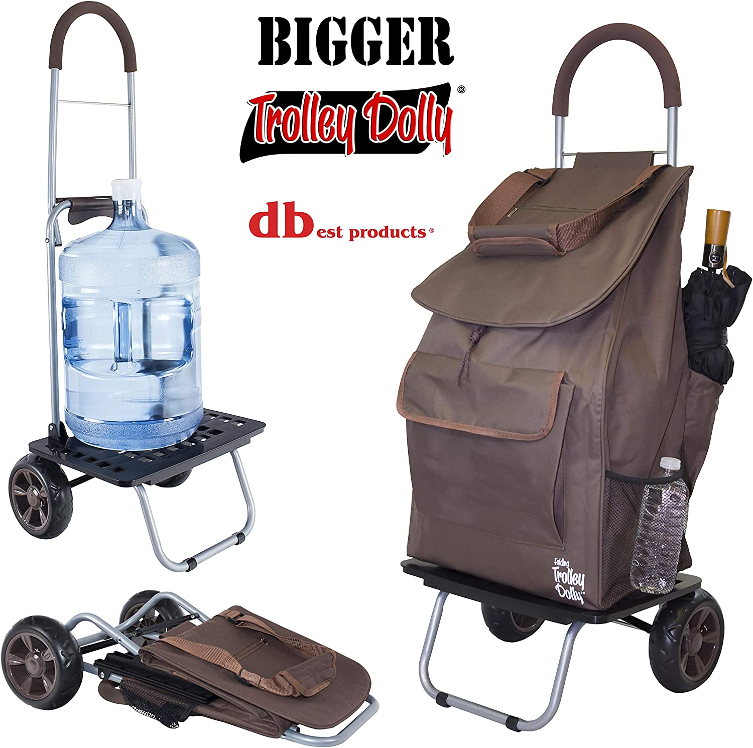 dbest products Bigger Trolley Dolly, Brown Shopping Grocery Foldable Cart: Home & Kitchen