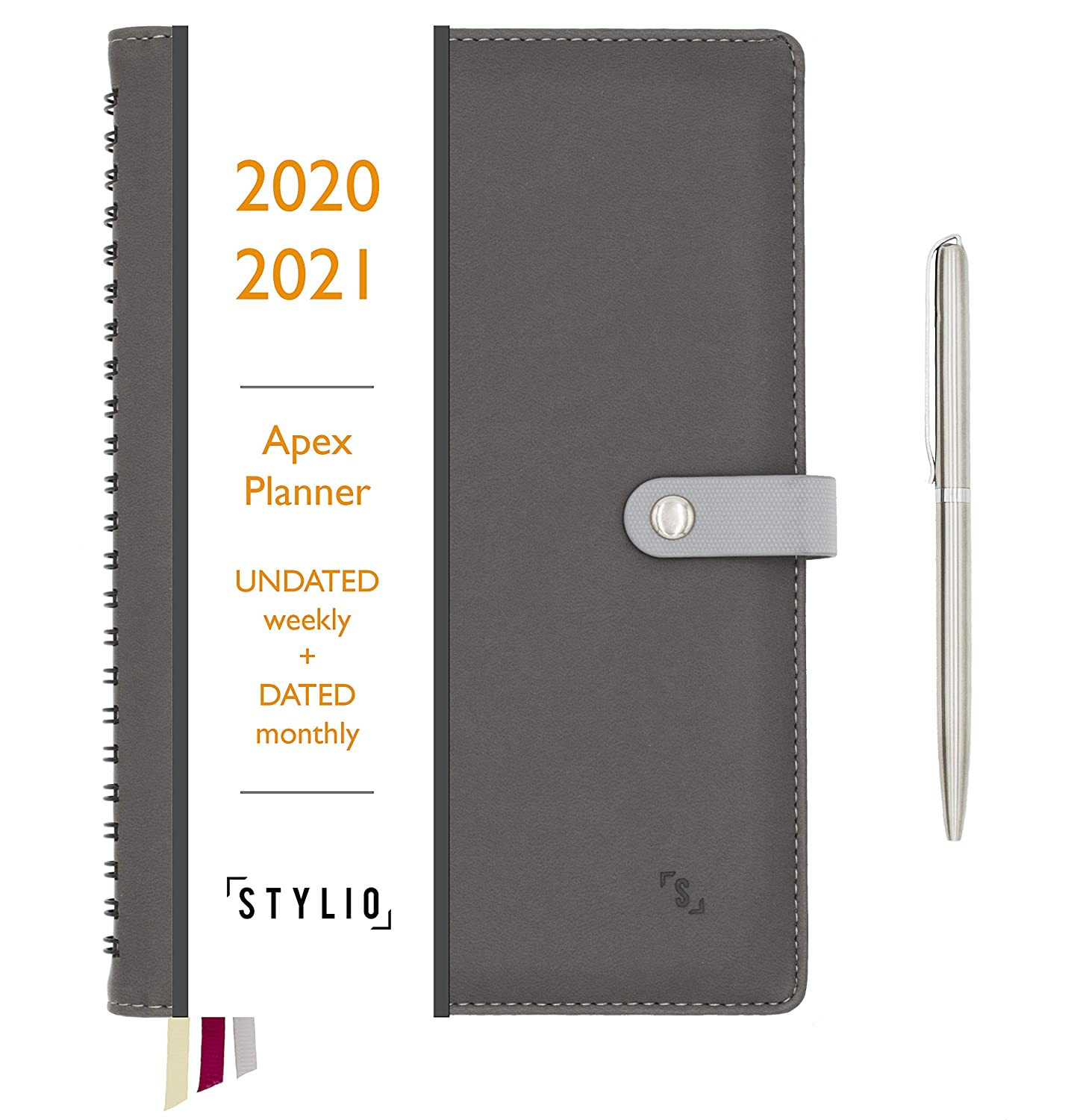 Stylio Apex Planner 2020/2021 Undated Weekly, Dated Monthly Calendar. Daily Personal Agenda Organizer für Business/Academic/School Life. Goals, Passion Journal Notebook für Teachers & College Students