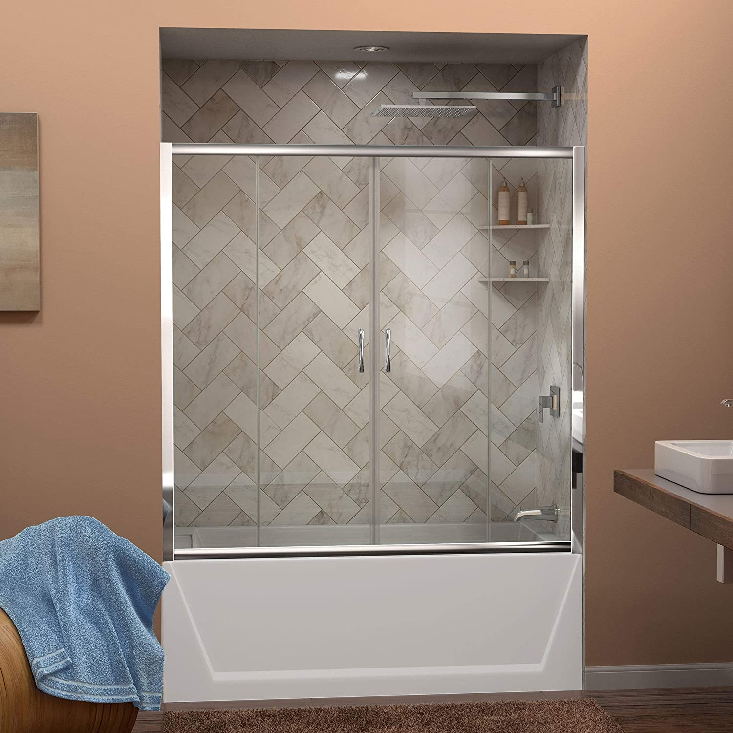 DreamLine Visions 56-60 in. W x 58 in. H Framed Sliding Tub Door in Chrome, SHDR-1160586-01