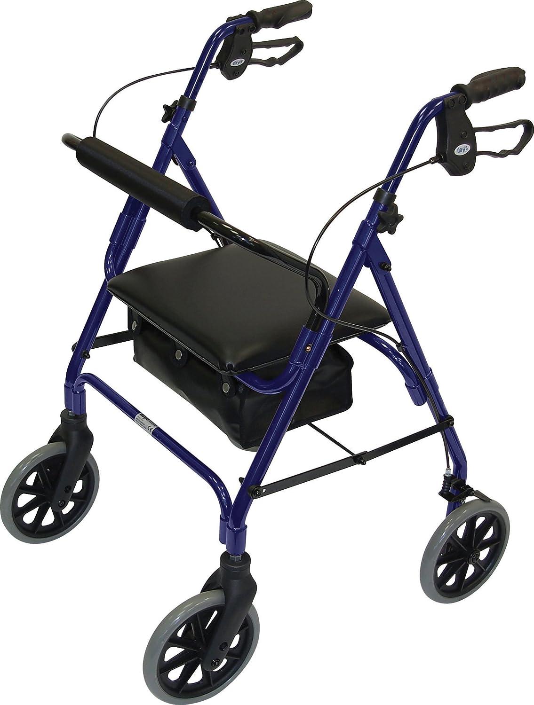 Patterson Medical - Andador con asiento (4 ruedas, frenos), color azul