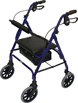 Patterson Medical - Andador con asiento (4 ruedas, frenos), color ...