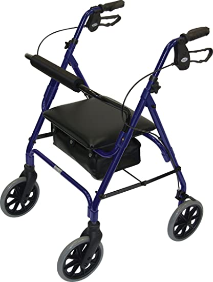 Patterson Medical - Andador con asiento (4 ruedas, frenos), color azul