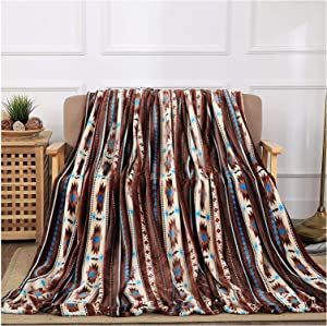 All American Collection Super Soft Ultra Comfort Plush Microfiber Solid Throw Blanket for Couch Home Bedroom Living Room (50 x 60, Beverly Coffee Southwest)