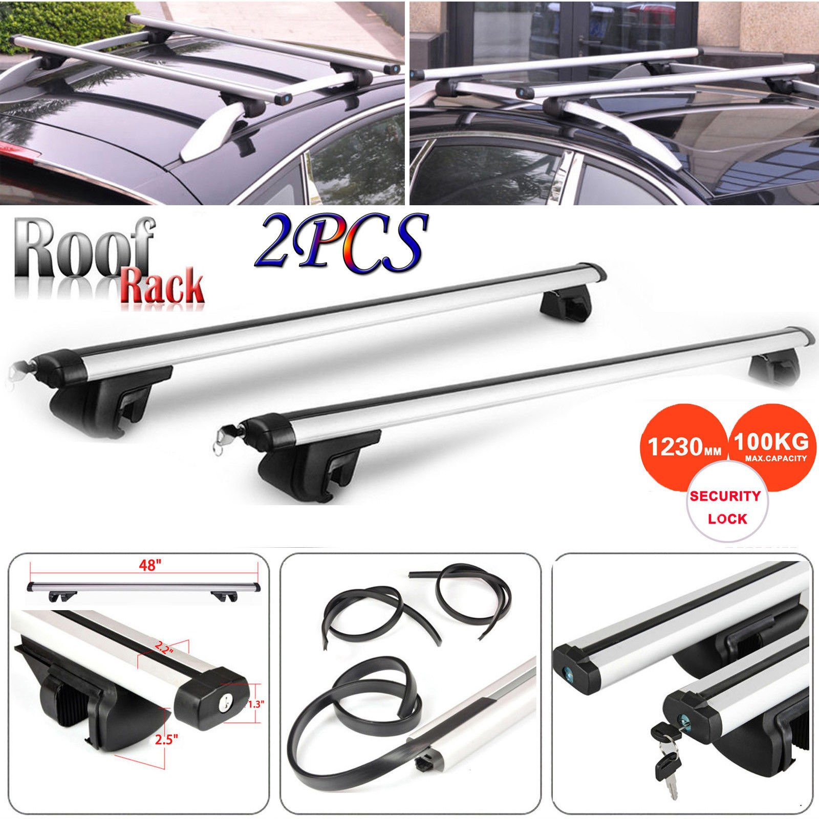 "Universal 48/"" Aluminum Adjustable Lockable Top Roof Rack Cross Bar Carrier locks"