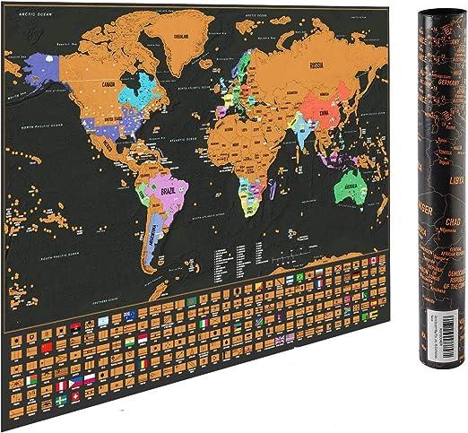 Mapa del Mundo De Scratch Mapa de Viajar Poster de Cero ...