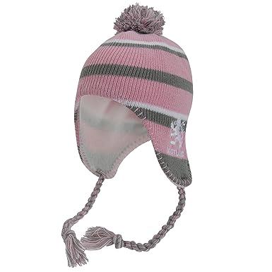 ca309e30f0a1 Bonnet thermique style péruvien - Enfant fille (Taille unique) (Rose Gris  Blanc)  Amazon.fr  Vêtements et accessoires