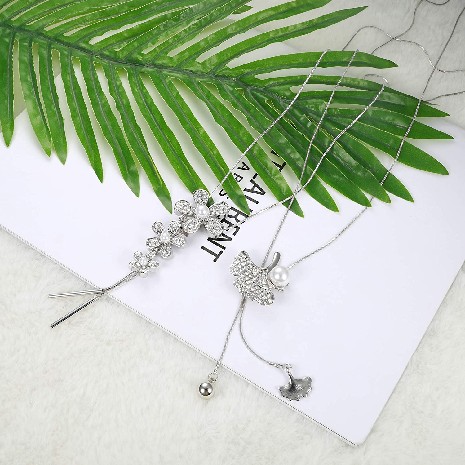LOYALLOOK 6PCS Crystal Flowers Long Pendant Necklace Set Leaf Tassel Pearl Y Strands Sweater Necklace Long Necklaces for Women