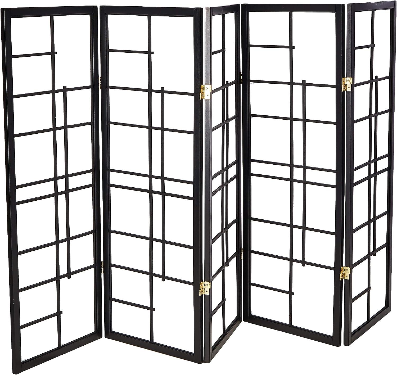 Oriental Furniture 4 ft. Tall Eudes Shoji Screen - Black - 5 Panels