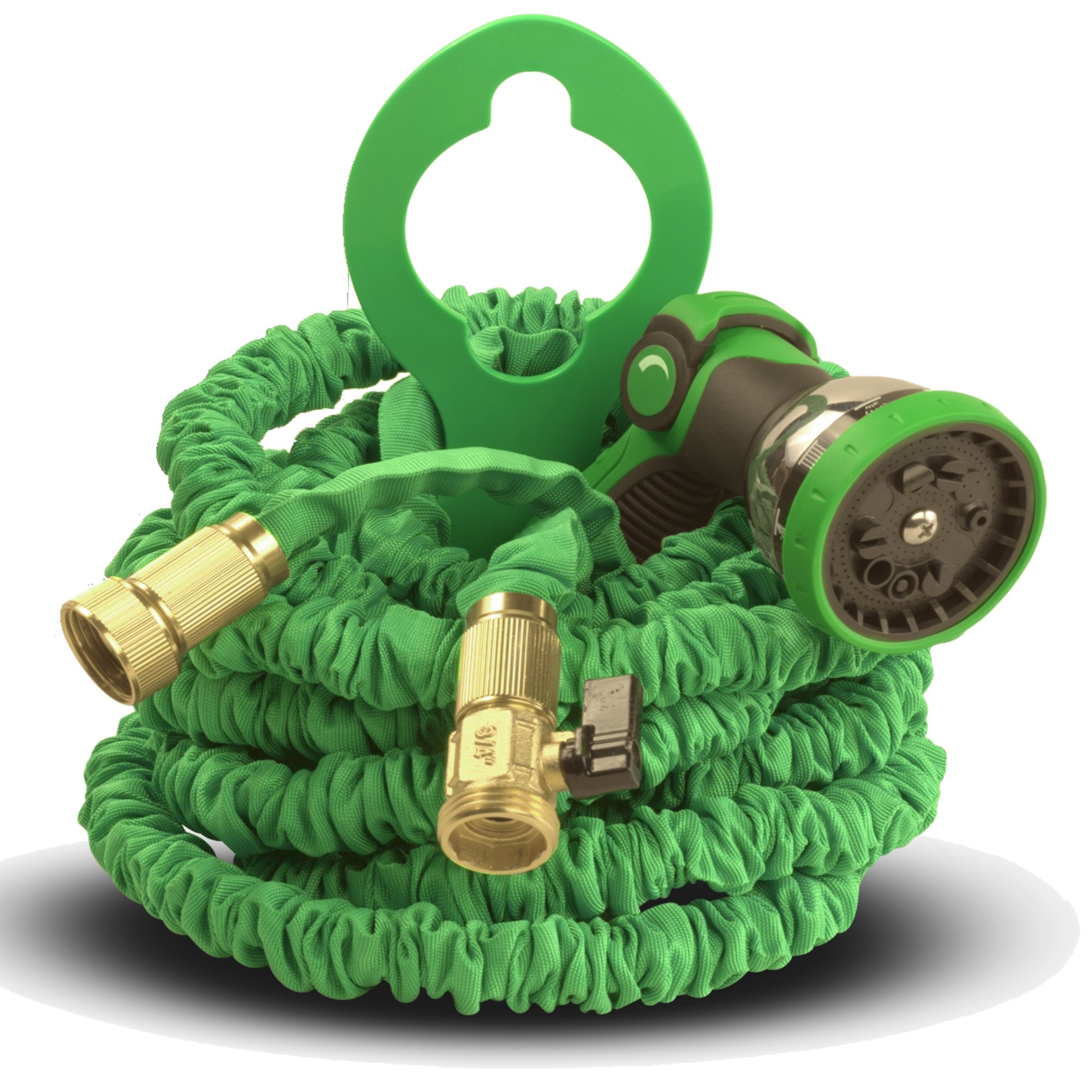 TBI Garden Hose 50 Foot - Best Expandable Water Hoses Set DAP Pro 10-Way Spray Nozzle - Strongest Lightweight Coil Flex, Collapsible Flexible Expanding 3-Layer Latex in Pocket. Green. 50 Feet