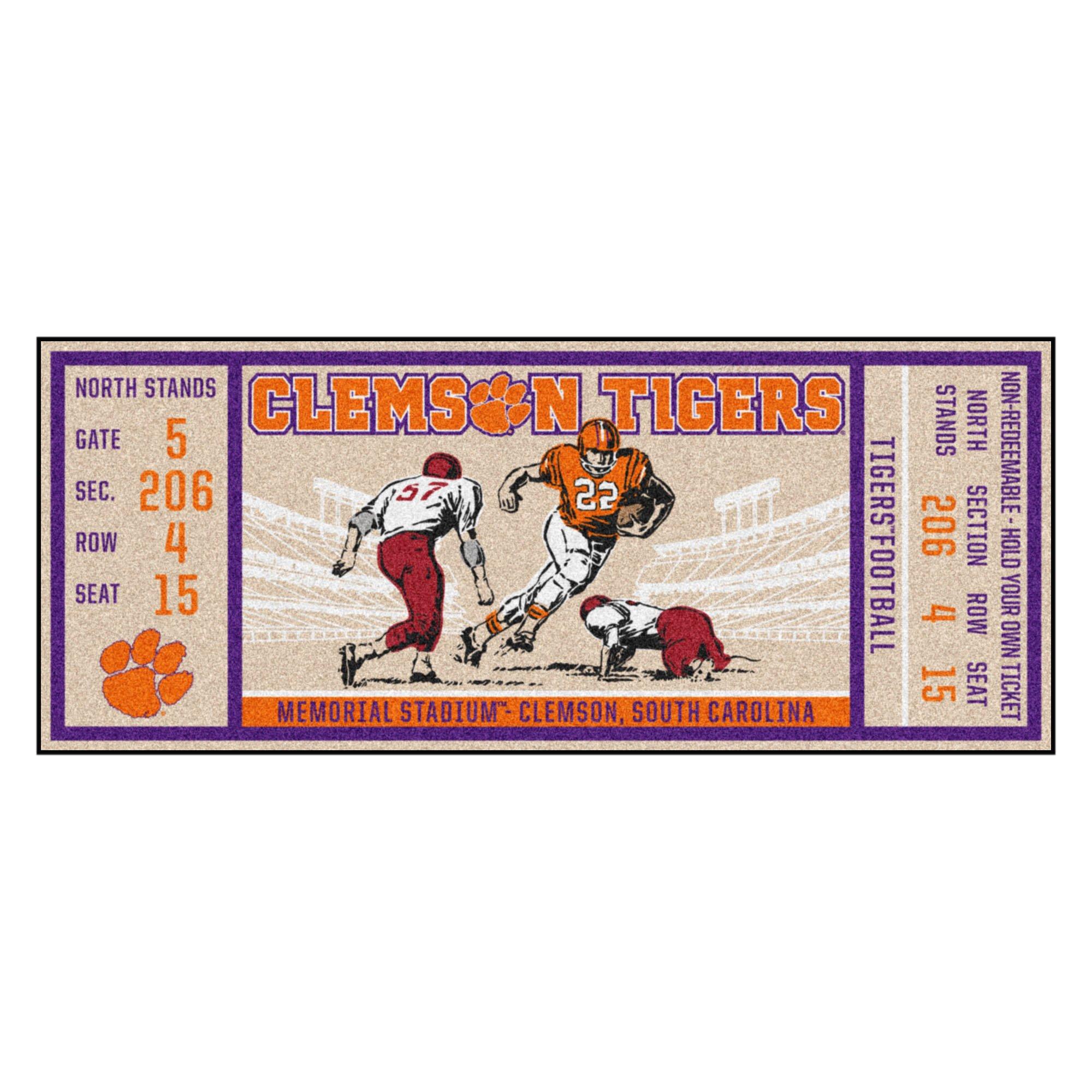 NCAA Clemson University Tigers Ticket Non-Skid Mat Area Rug Runner