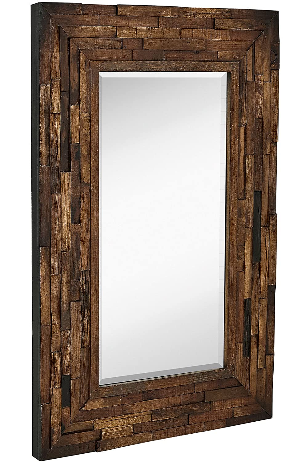 Amazon.com: Rustic Natural Wood Framed Wall Mirror | Solid ...