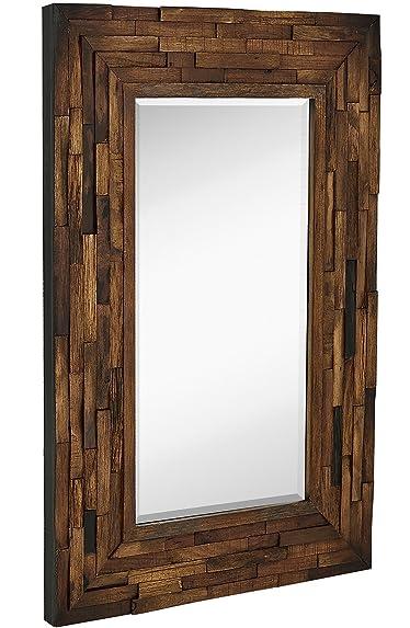 Hamilton Hills Rustic Natural Wood Framed Wall Mirror | Solid Construction Glass Wall Mirror | Vanity, Bedroom, or Bathroom | Hangs Horizontal or Vertical | 100% (24