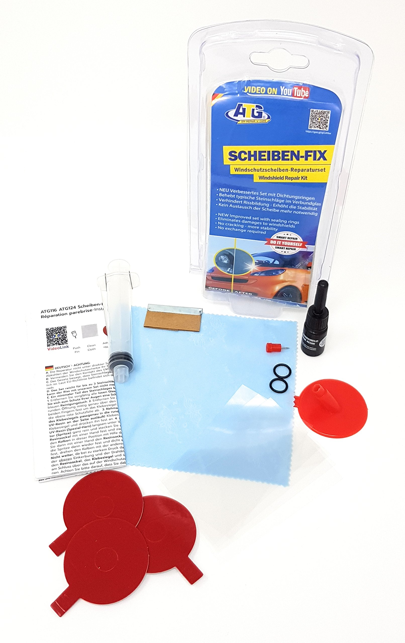 ATG Windshield-FIX | Full Repair Kit for Cracks, Scratches, Chips | 17 pieces. | DIY Smart Repair