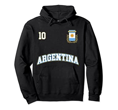 Unisex Argentina Hoodie No. 10 Soccer Team Shirt Seleccion Futbol 2XL Black