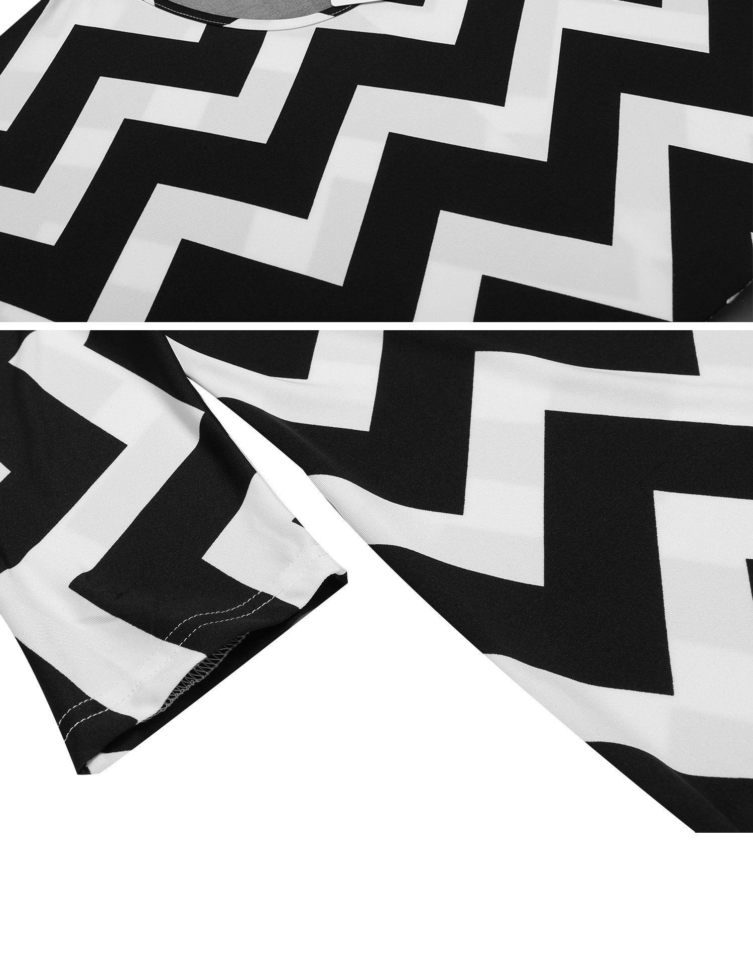 Zeagoo Women Casual Round Neck 3 4 Sleeve Chevron Print Tunic Top Black M