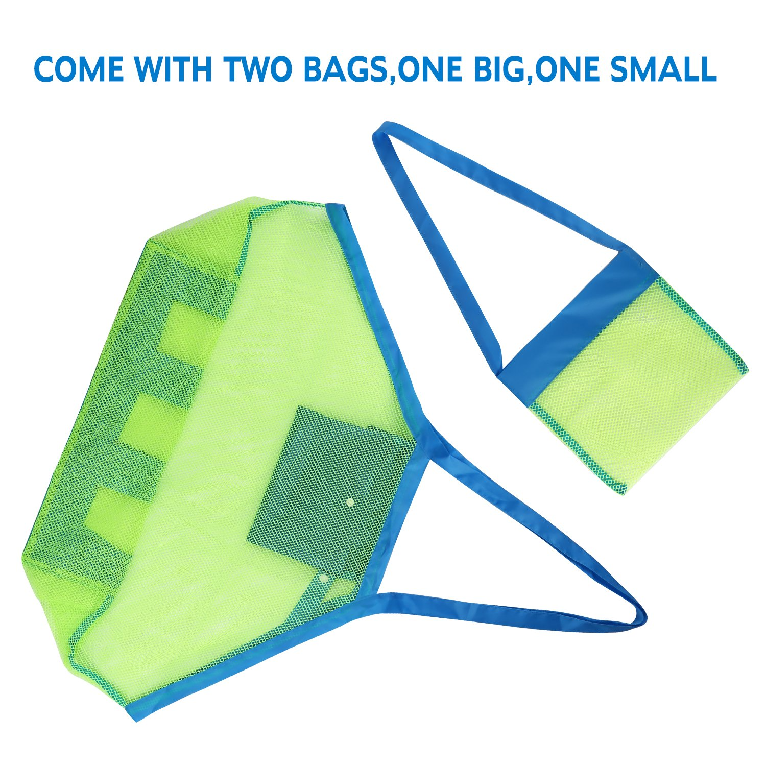 Large /&Small Sturdy Toy Bags Shell,Toys,Towels Groceries Sand Can Ideal for Beach G4Free Portable Beach Mesh Tote Bag 2pack Pool,Boat