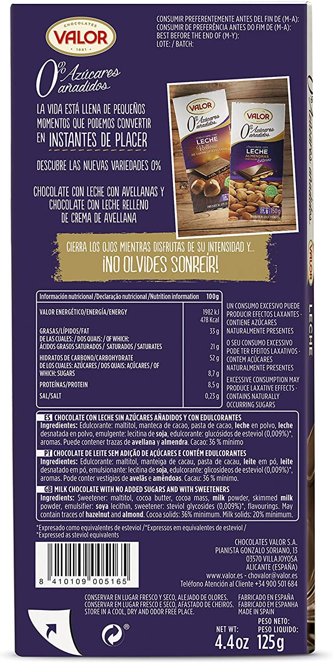 Chocolates Valor - Chocolate leche sin azúcares - 125 g - [Pack de ...
