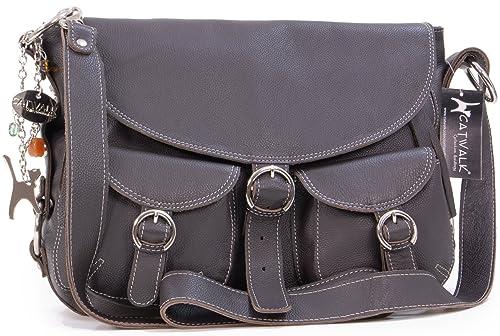 1f1ae14afa91c Catwalk Collection Handbags - Leder - Große Überschlagtasche Schultertasche  - COURIER - Braun
