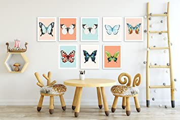 Ordinaire Butterfly Wall Decor, Set Of 8 Mini Art Prints, Gender Neutral Wall Art,
