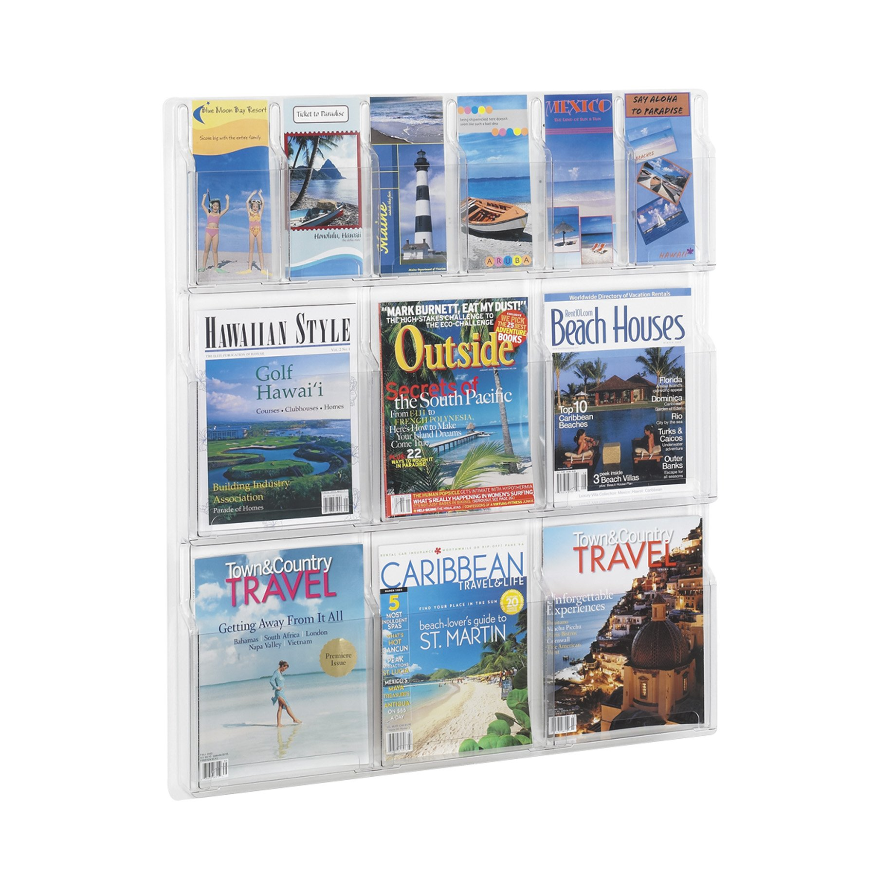 Safco Reveal Literature Rack - 30X2x34-3/4'' - 6 And 6 Pockets
