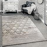 Paco Home Tappeto di Design per Soggiorno con Moderni Motivi Ornamentali mélange Grigio Beige, Dimensione:80x150 cm