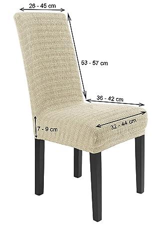 SCHEFFLER-Home Anna 2 Fundas de sillas, Estirable Cubiertas, Moderna extraíble flexibel Funda con Banda elástica, Marfil