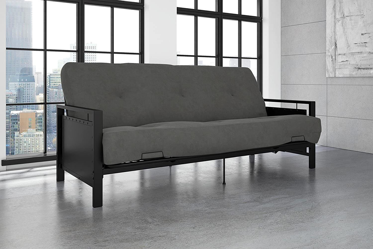 DHP Henley Metal Arm Futon Frame, Industrial Loft Design, Converts to Sleeper, Black Sturdy Metal DHPA1 2185059