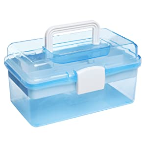 """MyGift 10"""" Clear Light Blue Plastic Multipurpose Portable Handled Organizer Storage Box/Case w/Removable Tray"""