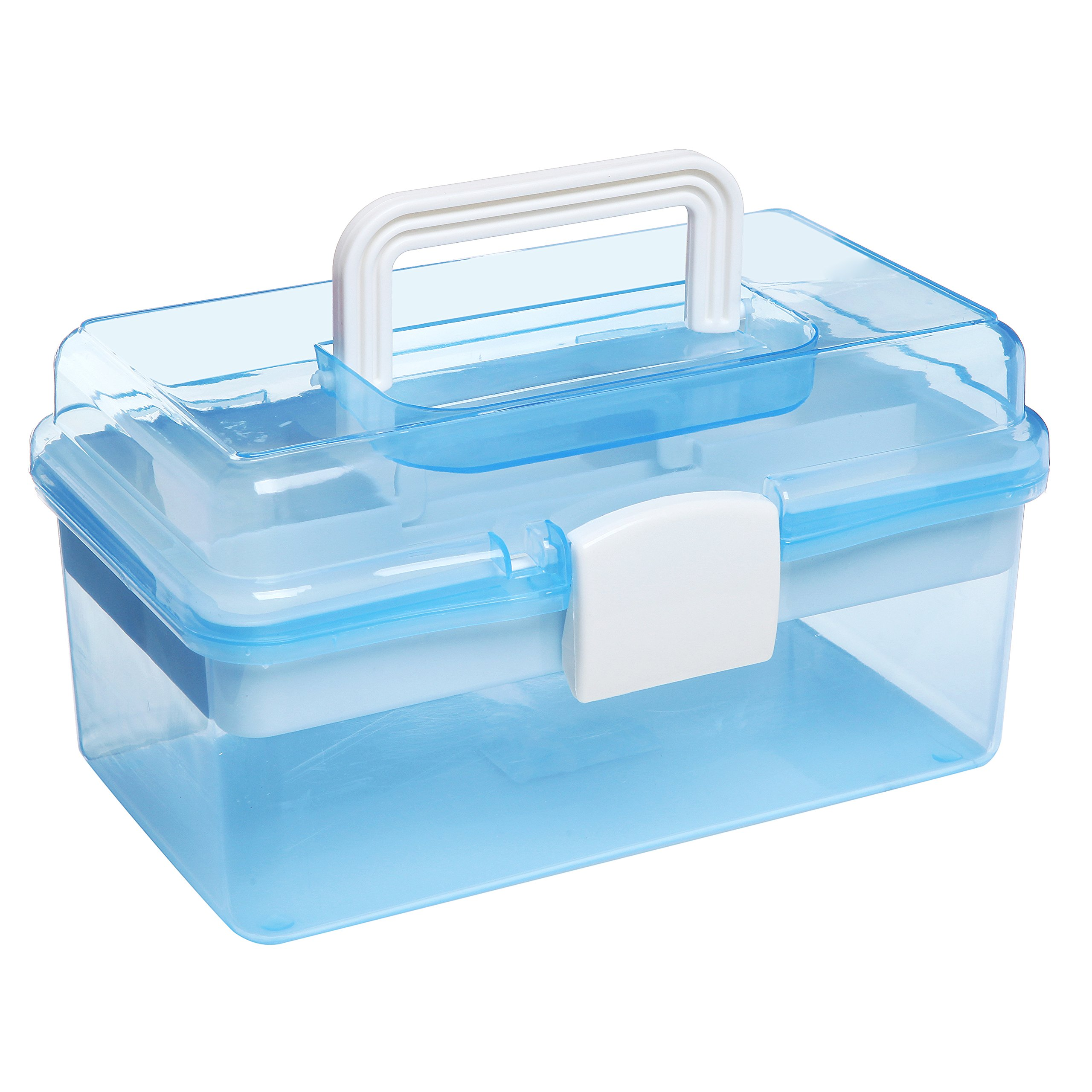 10'' Clear Light Blue Plastic Multipurpose Portable Handled Organizer Storage Box / Case w/ Removable Tray