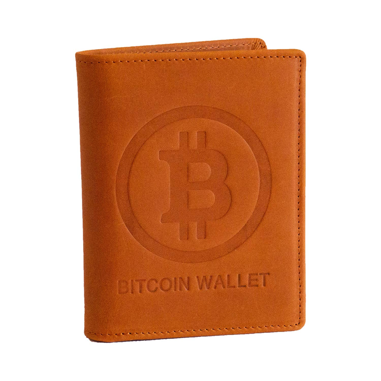 Bitcoin Wallet aus echtem Leder, das das Bitcoin-Logo in 3D ...